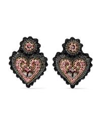 Etro Heart Shaped Felt Crystal And Bead Clip Earrings