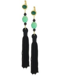 Kenneth Jay Lane Jade Color Bead And Black Tassel Earrings 525