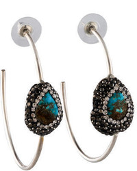 Lfr Designs Pav Turquoise Hoop Earrings