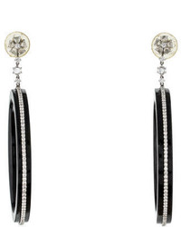 Lorraine Schwartz Black Jade Diamond Hoop Earrings