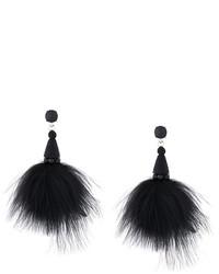 Oscar de la Renta Marabou Feather Earrings