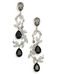 Oscar de la Renta Crystal Swirl Drop Earrings