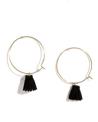 Party Mix Black And Gold Tassel Hoop Earrings