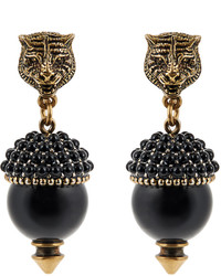 Gucci Pearl Effect Embellished Tiger Earrings
