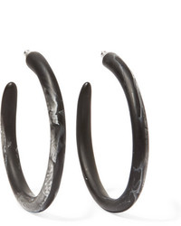 Dinosaur Designs Resin Hoop Earrings Black