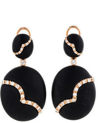 Rina Limor Black Onyx And Diamond Drop Earrings