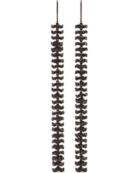 Ofira Semi Duster 18 Karat Blackened White Gold Diamond Earrings