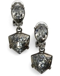 Oscar de la Renta Shield Crystal Clip Earrings