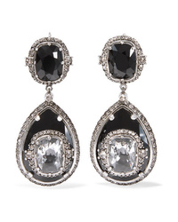 Alexander McQueen Silver Tone Crystal Earrings