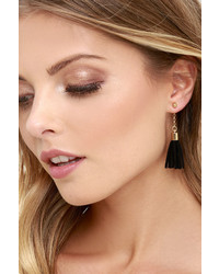 LuLu*s Tassel At Hand Black And Gold Peekaboo Earrings