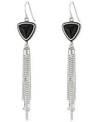The Sak Triangle Stone Tassel Earrings