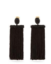 Oscar de la Renta Waterfall Tassel Drop Clip On Earrings
