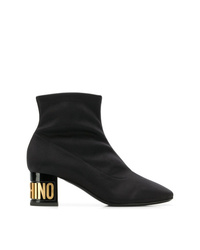Moschino Logo Heel Square Toe Ankle Boots