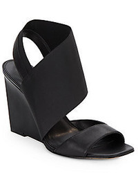 Calvin Klein Kyla Leather Elastic Wedge Sandals