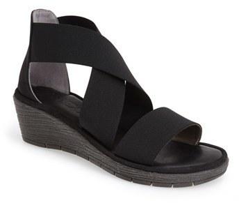 160fe2535 ... Black Elastic Heeled Sandals The Flexx Happy Daze Elastic Strap Wedge  ...