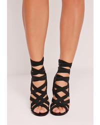 Missguided Elastic Strap Gladiator Heeled Sandals Black