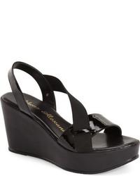 Black Elastic Wedge Sandals