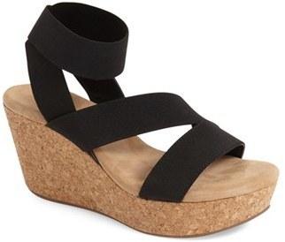 e89798a66 ... Black Elastic Wedge Sandals Splendid Gavin Elastic Strap Wedge Sandal  ...