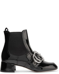 Miu Miu Embellished Patent Leather Ankle Boots Black