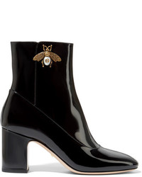 Gucci Embellished Patent Leather Ankle Boots Black