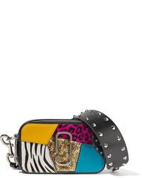 Marc Jacobs Snapshot Punk Calf Hair Trimmed Embellished Textured Leather Shoulder Bag Black