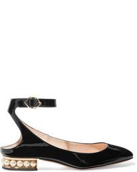 Nicholas Kirkwood Lola Embellished Patent Leather Ballet Flats Black