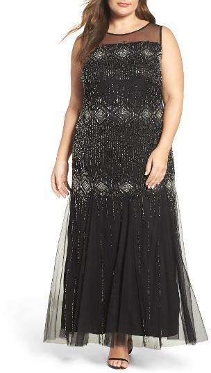 Pisarro Nights Plus Size Diamond Motif Embellished Long Dress