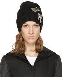 Marc Jacobs Black Cashmere Embellished Beanie
