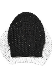 Crystal voilette embellished angora and merino wool blend beanie black medium 819218