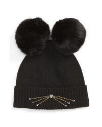kate spade new york Embellished Cat Wool Beanie With Faux S