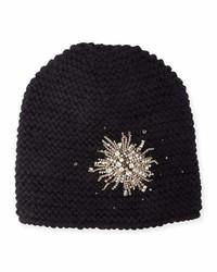 Jennifer Behr Embellished Starburst Beanie Hat Black