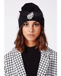 Missguided Grenice Embellished Fishnet Detail Knitted Beanie Hat Black