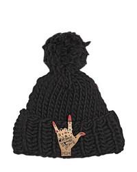 Wool Beanie Hat W Rock On Pin