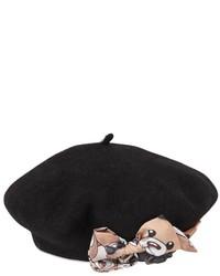 MonnaLisa Embellished Felt Wool Beret Hat