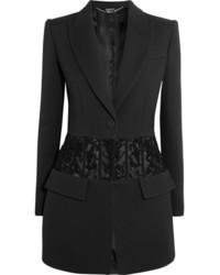 Alexander McQueen Bead Embellished Tulle Paneled Crepe Blazer Black