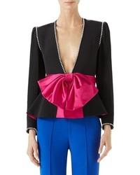 Gucci Bow Detail Marocain Jacket