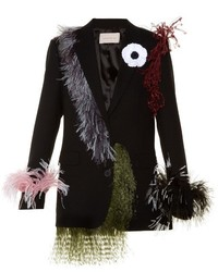 Christopher Kane Feather Embellished Notch Lapel Wool Blazer