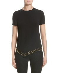 Versace Collection Hardware Embellished Jersey Asymmetrical Top