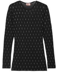 Lanvin Embellished Stretch Mesh Top Black