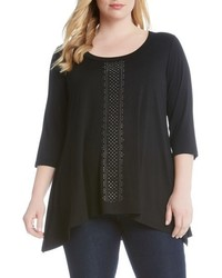 Karen Kane Plus Size Embellished Handkerchief Hem Top