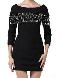 Romwe Diamante Embellisht Bodycon Black Dress