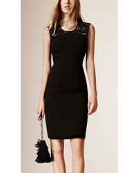 Burberry Embellished Satin Back Crepe Bodycon Dress