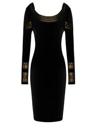 Romwe Rhinestone Embellisht Bodycon Black Dress