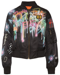 Marc Jacobs Embellished Painted Shell Bomber Jacket Black
