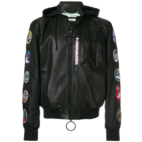 ca6968c4e $1,639, Off-White Temperature Patch Embellisheda Hooded Jacket