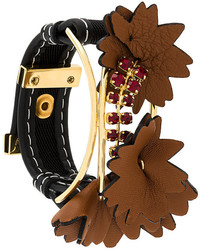 Marni Embellished Leather Patch Bracelet