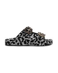 Dolce & Gabbana Crystal Embellished Flocked Canvas Sandals