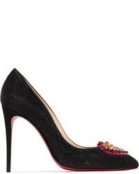 Christian Louboutin Coralta Mia 100 Embellished Glittered Canvas Pumps Black