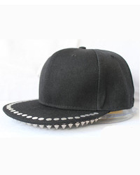 ChicNova Black Canvas Cap With Wide Flat Spike Embellished Brim