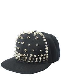 ChicNova Black Canvas Punk Style Cap With Silver Spike Embellisht